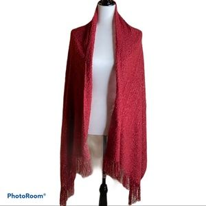 NWT Steve Madden Red Boucle Blanket Wrap